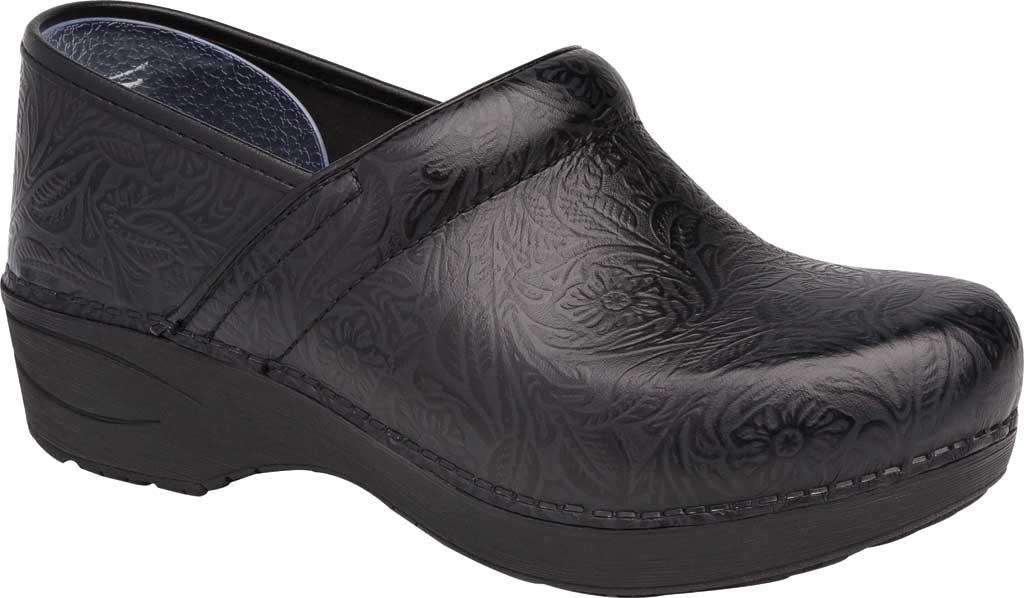Women's Dansko XP 2.0 Clog, Black Floral Tooled Leather, large, image 1