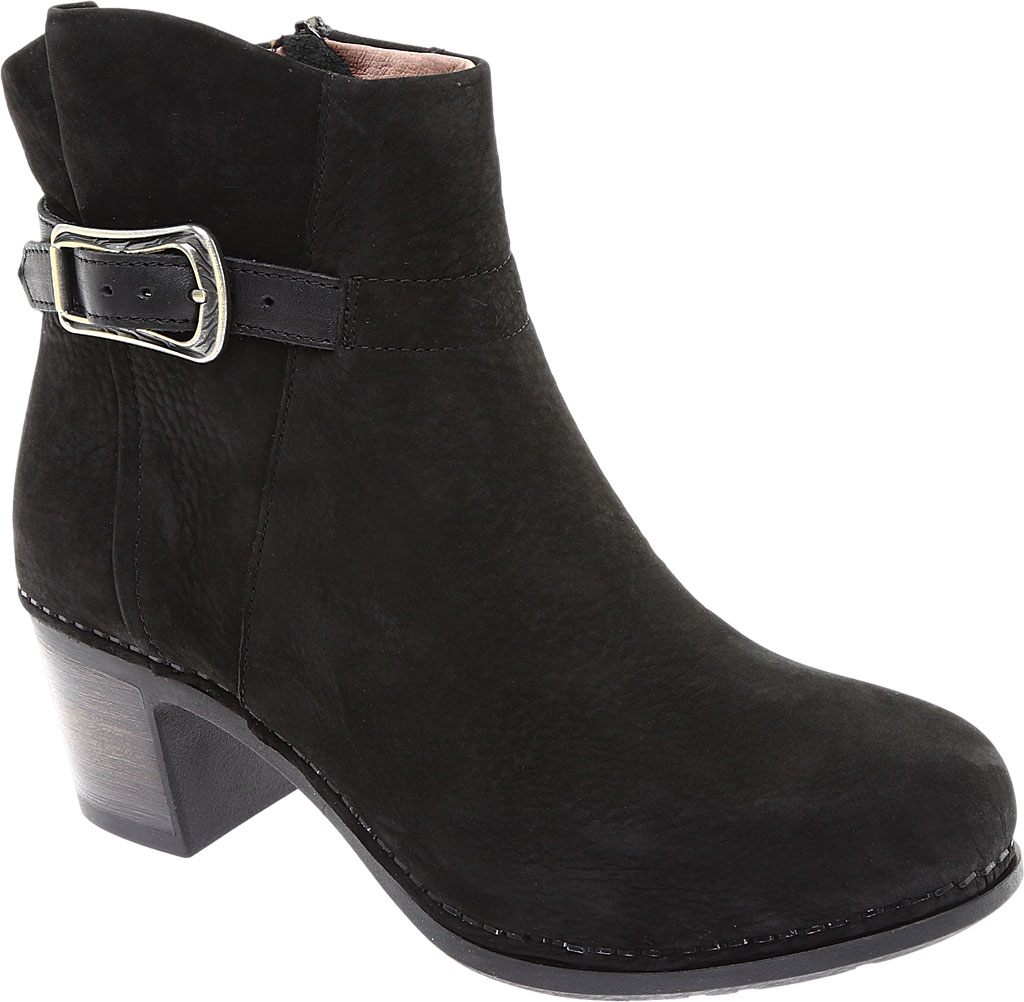 Women's Dansko Hartley Ankle Boot, Black Nubuck, large, image 1