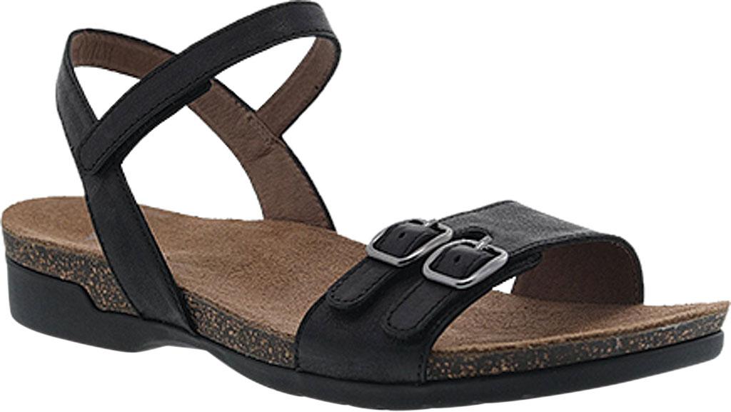 Women's Dansko Rebekah Ankle Strap Sandal, Black Waxy Burnished Leather, large, image 1