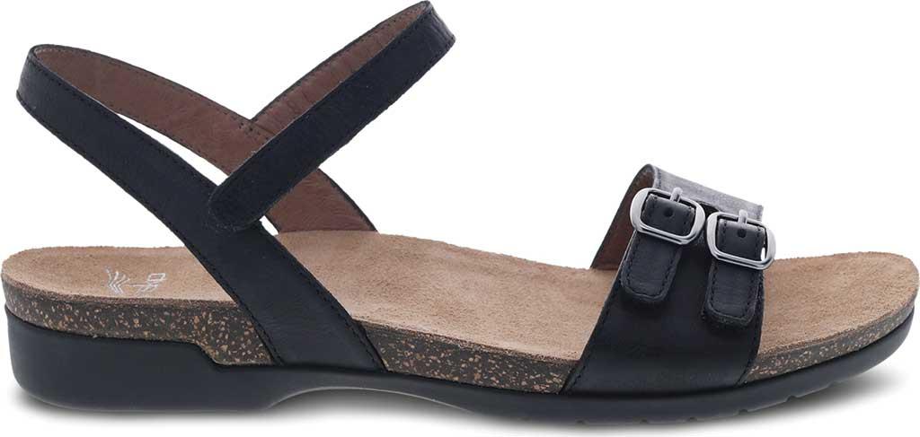 Women's Dansko Rebekah Ankle Strap Sandal, Black Waxy Burnished Leather, large, image 2