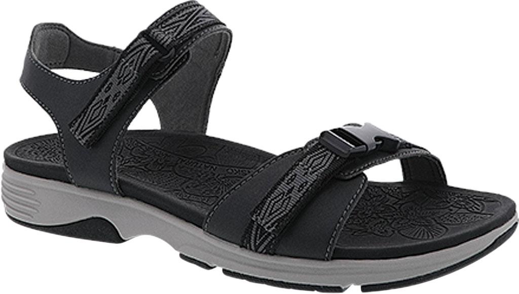 Women's Dansko Angie Walking Sandal, Black Microbuck, large, image 1
