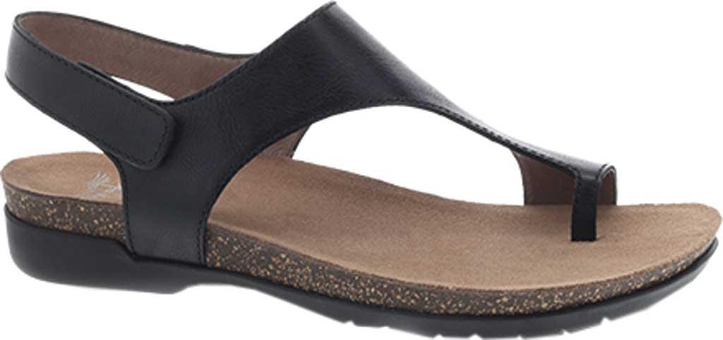 Women's Dansko Reece Toe Loop Sandal, Black Waxy Burnished, large, image 1