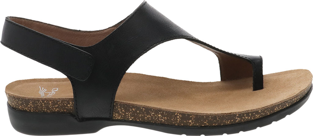 Women's Dansko Reece Toe Loop Sandal, Black Waxy Burnished, large, image 2