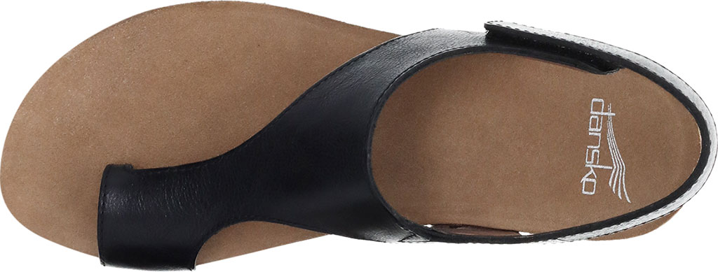 Women's Dansko Reece Toe Loop Sandal, Black Waxy Burnished, large, image 3