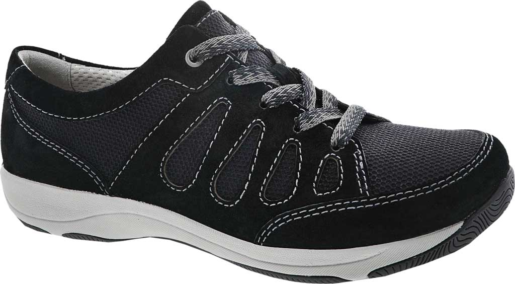 Women's Dansko Heather Sneaker, Black Suede, large, image 1