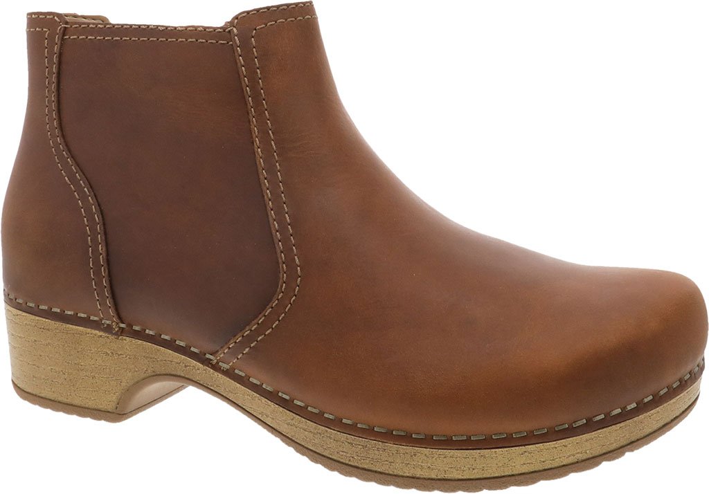Women's Dansko Barbara Ankle Bootie, Tan Oiled Pull Up Leather, large, image 1