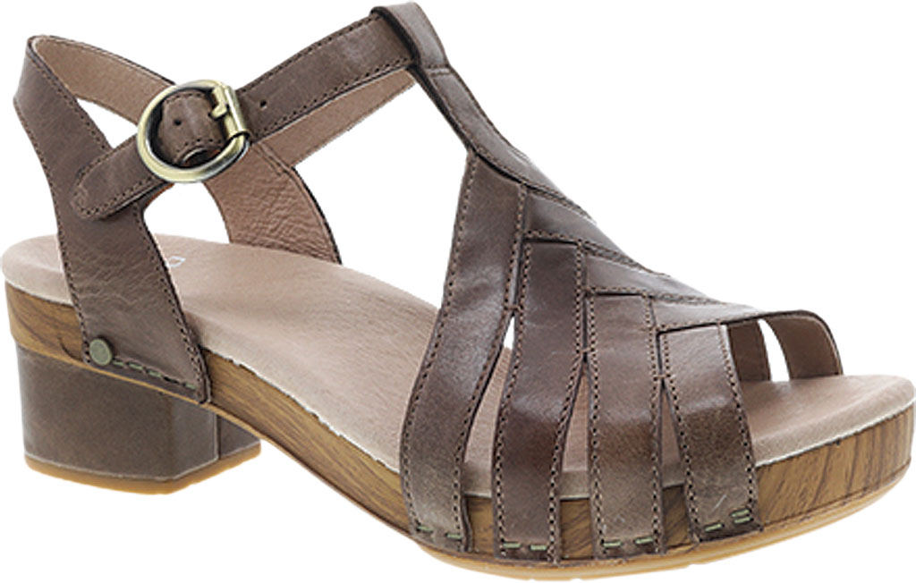 Women's Dansko Mara T Strap Sandal, Taupe Burnished Calf, large, image 1