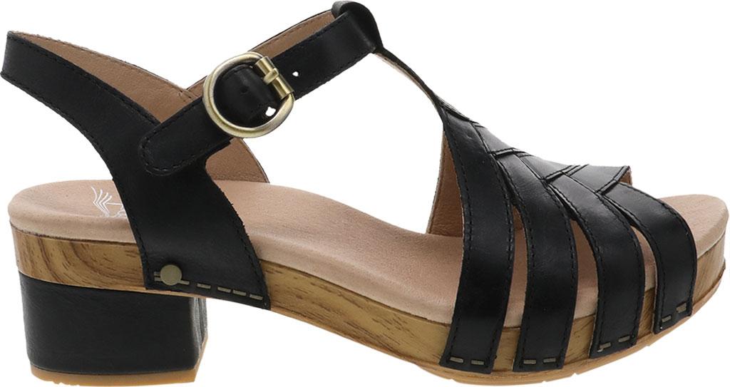 Women's Dansko Mara T Strap Sandal, Black Burnished Calf, large, image 2