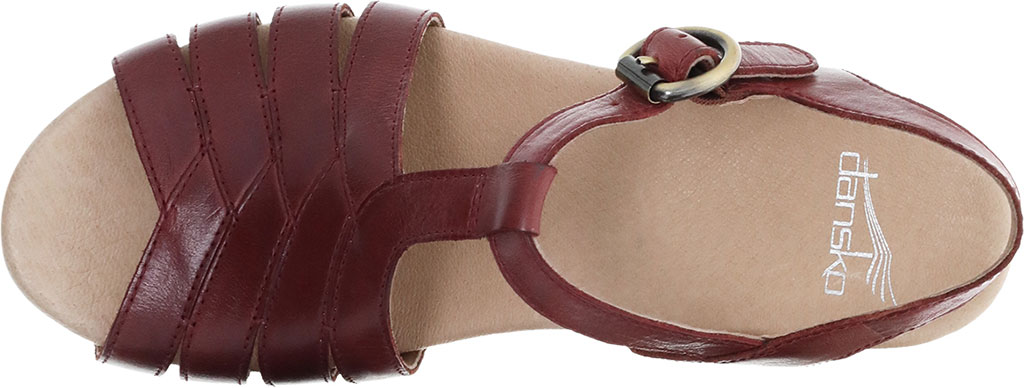 Women's Dansko Mara T Strap Sandal, Mahogany Burnished Calf, large, image 3