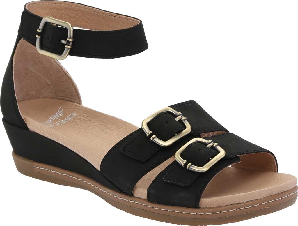 Women's Dansko Astrid Ankle Strap Sandal, Black Milled Nubuck, large, image 1