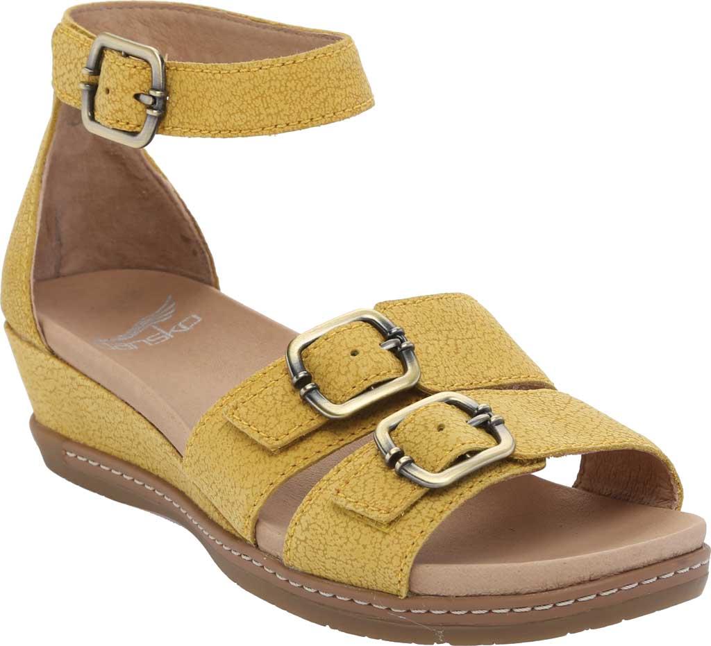 Women's Dansko Astrid Ankle Strap Sandal, Yellow Textured Nubuck, large, image 1