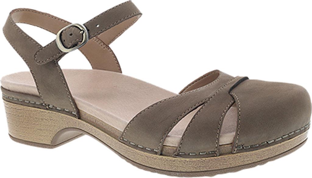 Women's Dansko Betsey Closed Toe Sandal, Taupe Milled Nubuck, large, image 1
