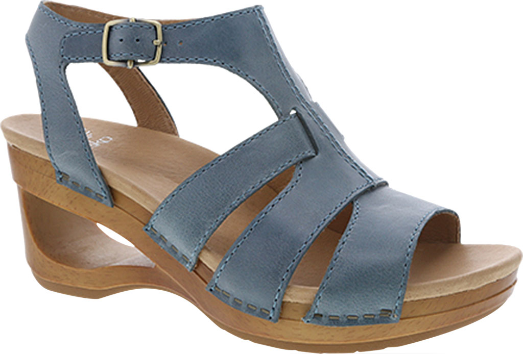 Women's Dansko Trudy Strappy Sandal, Denim Waxy Calf, large, image 1