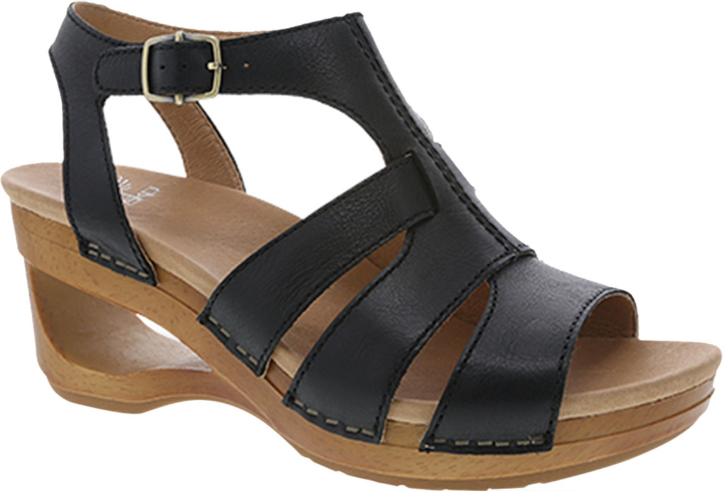 Women's Dansko Trudy Strappy Sandal, Black Waxy Calf, large, image 1