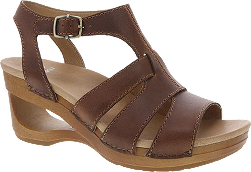 Women's Dansko Trudy Strappy Sandal, Tan Waxy Calf, large, image 1