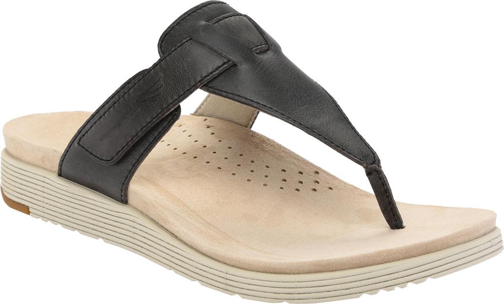 Women's Dansko Cece Thong Sandal, Black Burnished Calf, large, image 1