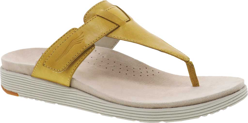 Women's Dansko Cece Thong Sandal, Yellow Burnished Calfskin, large, image 1