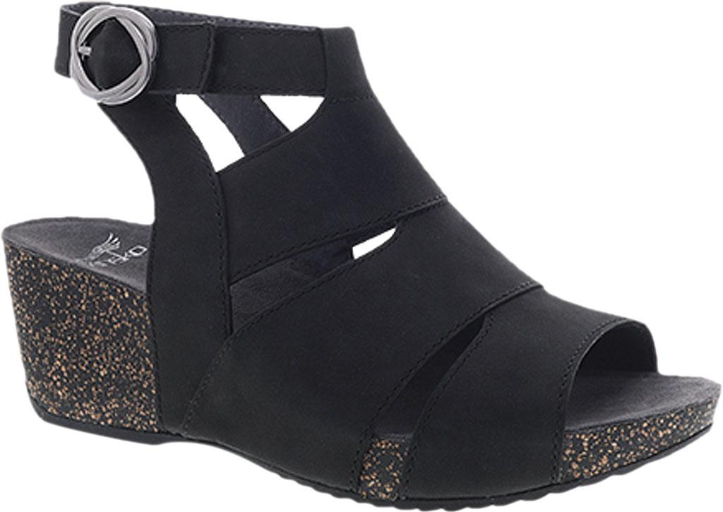 Women's Dansko Sera Strappy Sandal, Black Milled Nubuck, large, image 1