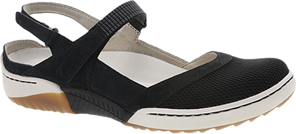 Women's Dansko Raeann Closed Toe Sandal, Black Suede, large, image 1