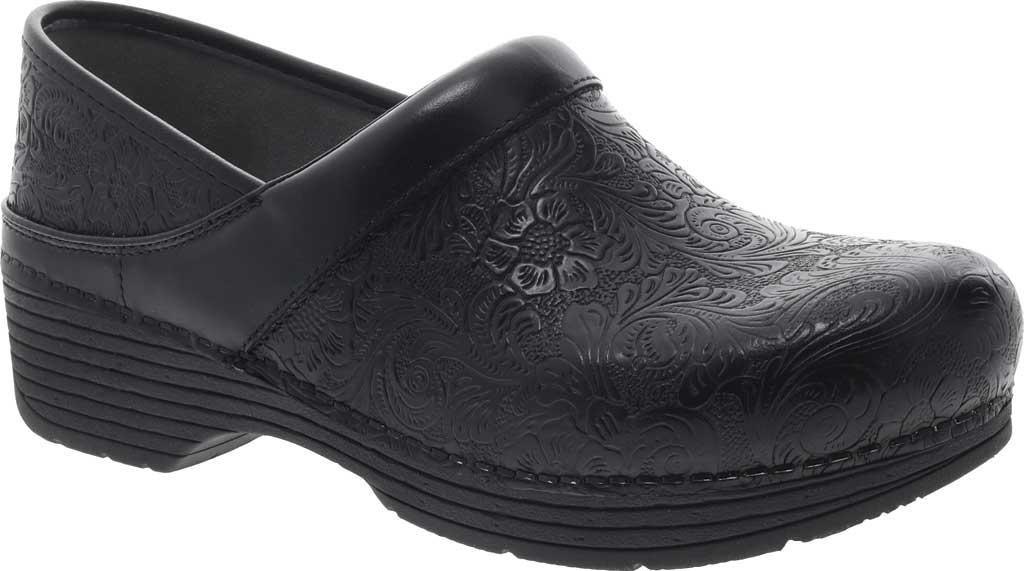 Women's Dansko LT Pro Closed Back Clog, Black Floral Tooled Leather, large, image 1