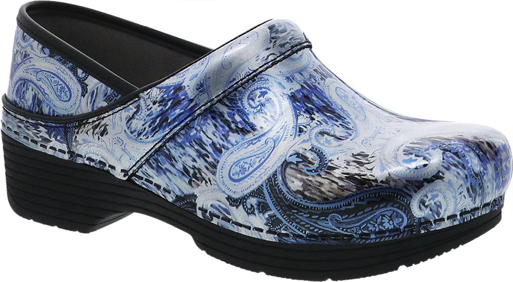 Women's Dansko LT Pro Closed Back Clog, Silver/Blue Paisley Patent Leather, large, image 1