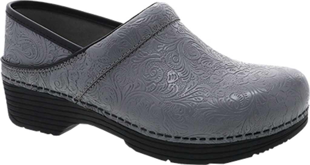 Women's Dansko LT Pro Closed Back Clog, Grey Floral Tooled Leather, large, image 1