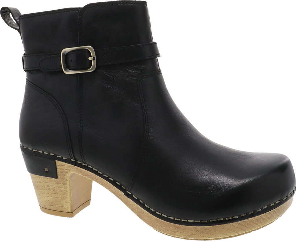 Women's Dansko Anya Ankle Bootie, Black Waxy Burnished Leather, large, image 1