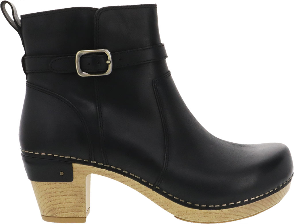 Women's Dansko Anya Ankle Bootie, Black Waxy Burnished Leather, large, image 2