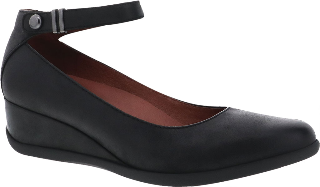 Women's Dansko Shaylee Ankle Strap Wedge, Black Leather, large, image 1