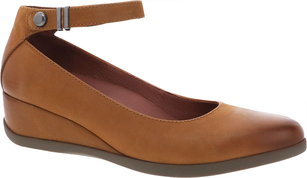 Women's Dansko Shaylee Ankle Strap Wedge, Luggage Leather, large, image 1