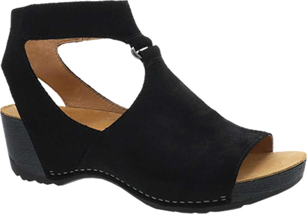 Women's Dansko Taylin Ankle Strap Wedge Sandal, Black Burnished Suede, large, image 1