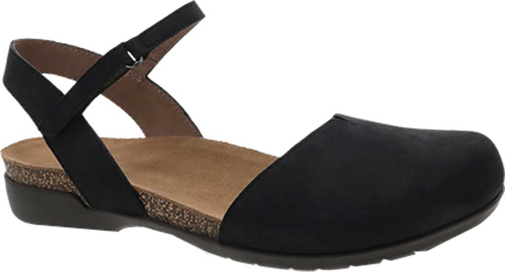 Women's Dansko Rowan Closed Toe Sandal, Black Nubuck, large, image 1