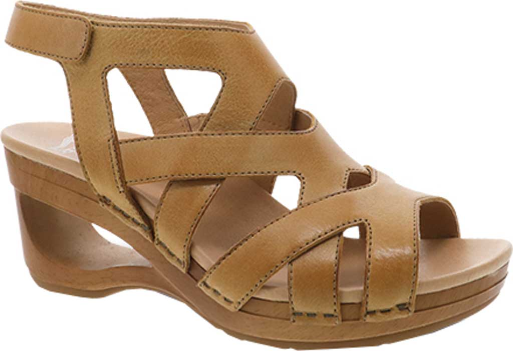 Women's Dansko Tempest Heeled Strappy Sandal, Tan Milled Burnished Leather, large, image 1