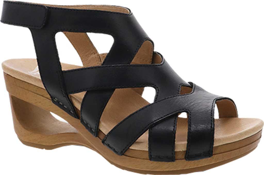 Women's Dansko Tempest Heeled Strappy Sandal, Black Milled Burnished Leather, large, image 1