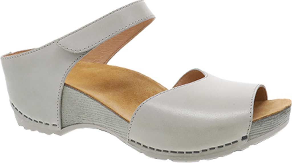 Women's Dansko Tracy Wedge Slide, Ivory Burnished Calfskin, large, image 1