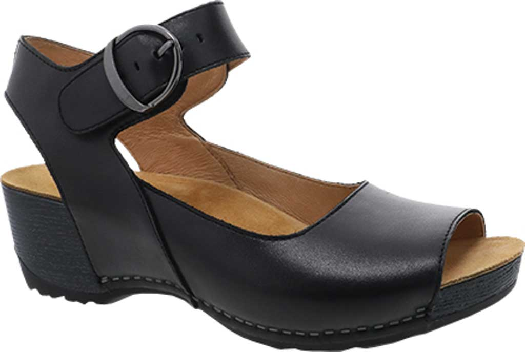 Women's Dansko Tiana Quarter Strap Wedge Sandal, Black Burnished Calfskin, large, image 1