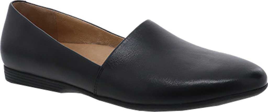 Women's Dansko Larisa Slip On Flat, Black Milled Nappa Leather, large, image 1