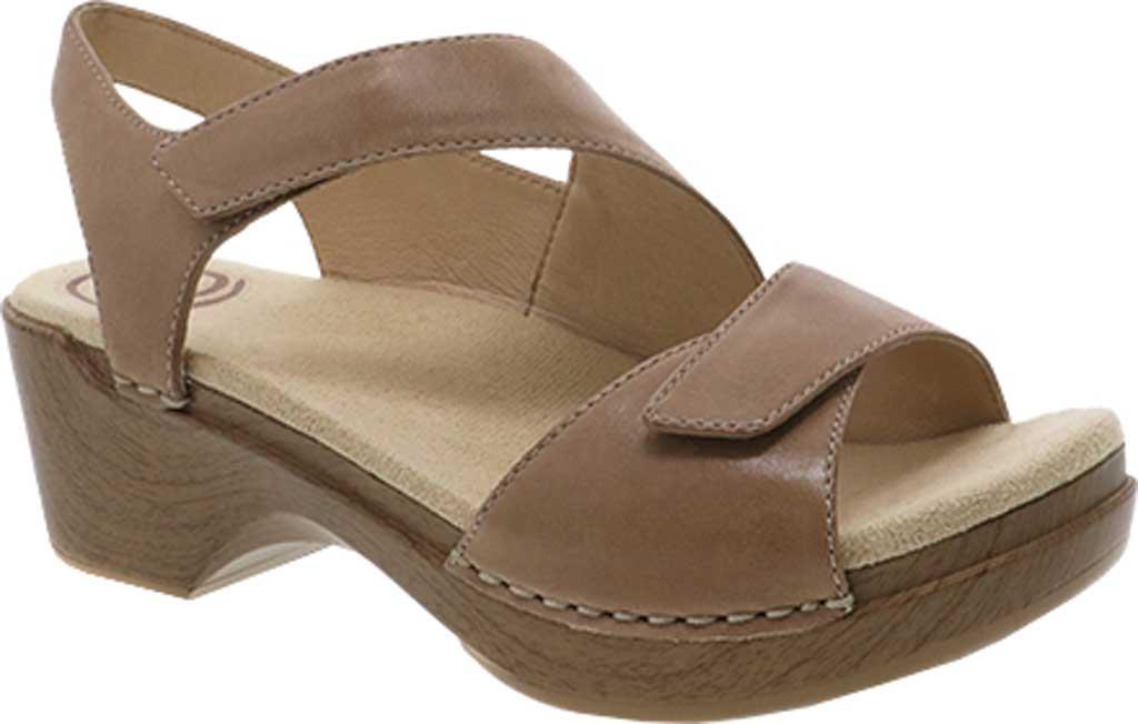 Women's Dansko Sharla Heeled Sandal, Tan Burnished Nappa Leather, large, image 1