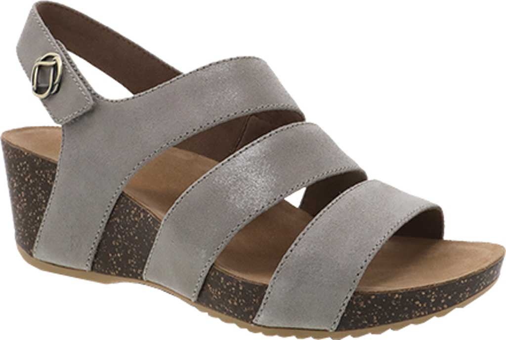 Women's Dansko Stacey Wedge Strappy Sandal, Taupe Glazed Suede, large, image 1