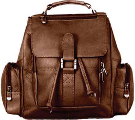 David King Leather 331 Mid Size Top Handle Backpack, Cafe, large, image 1