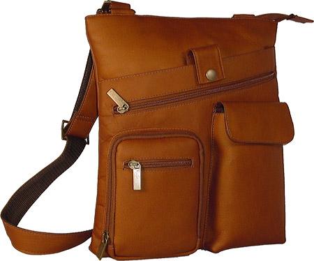 David King Leather 457 Multi Pocket Cross Bag, Tan, large, image 1
