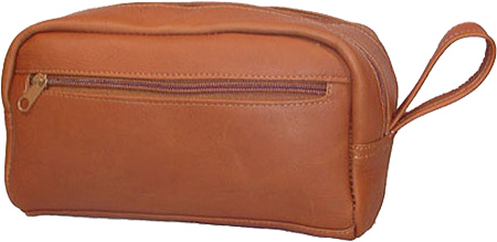 David King Leather 418 Small Double Zip Shave Kit, Tan, large, image 1