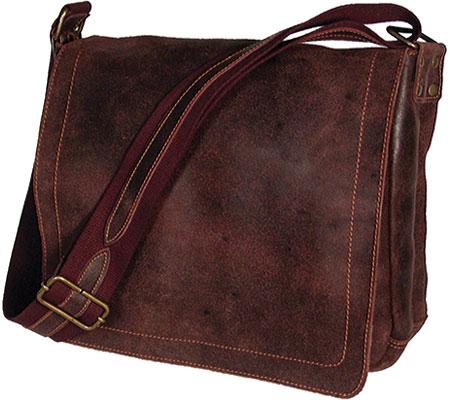 David King Leather 6111 Distressed North/South Messenger Bag, Cafe, large, image 1