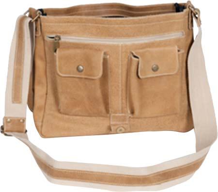 David King Leather 6152 Medium Distressed Laptop Messenger Bag, Tan, large, image 1