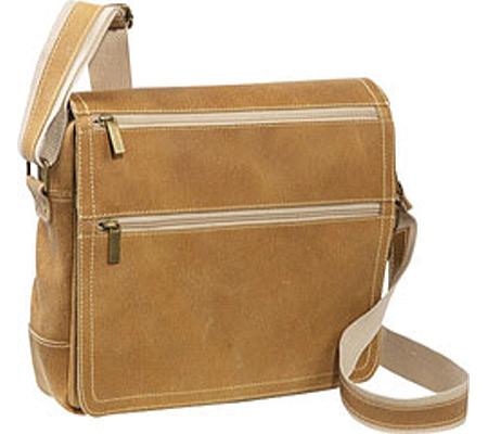 David King Leather 6155 Small Laptop Distressed Messenger, Tan, large, image 1