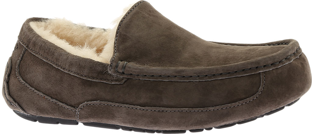 Men's UGG Ascot Suede Slipper, Charcoal, large, image 1