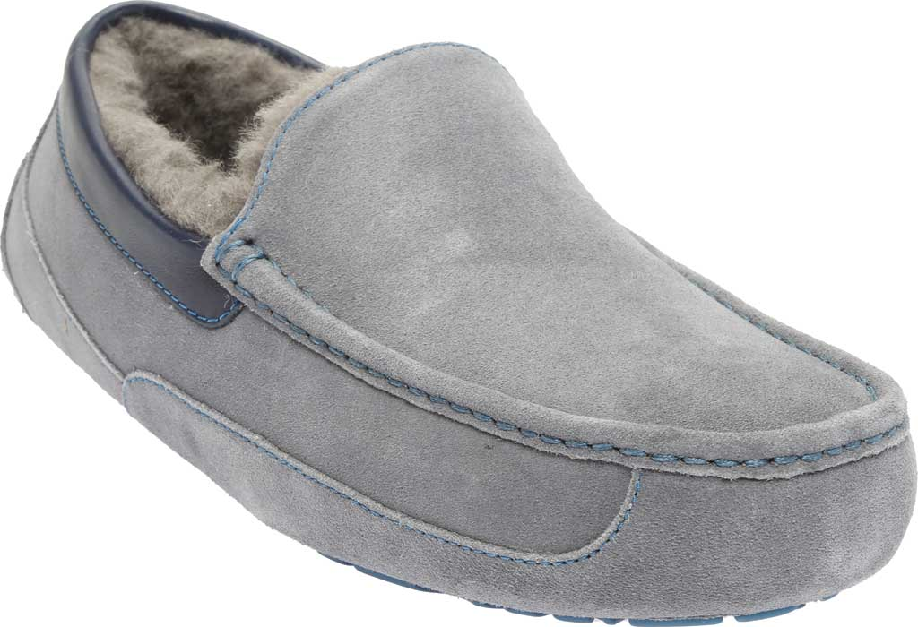 Men's UGG Ascot Suede Slipper, Metal/Blue Sapphire Suede, large, image 1
