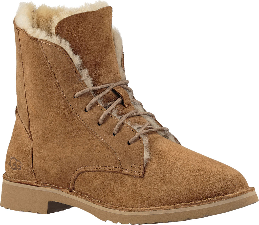 Women's UGG Quincy Lace Up Boot, Chestnut, large, image 1