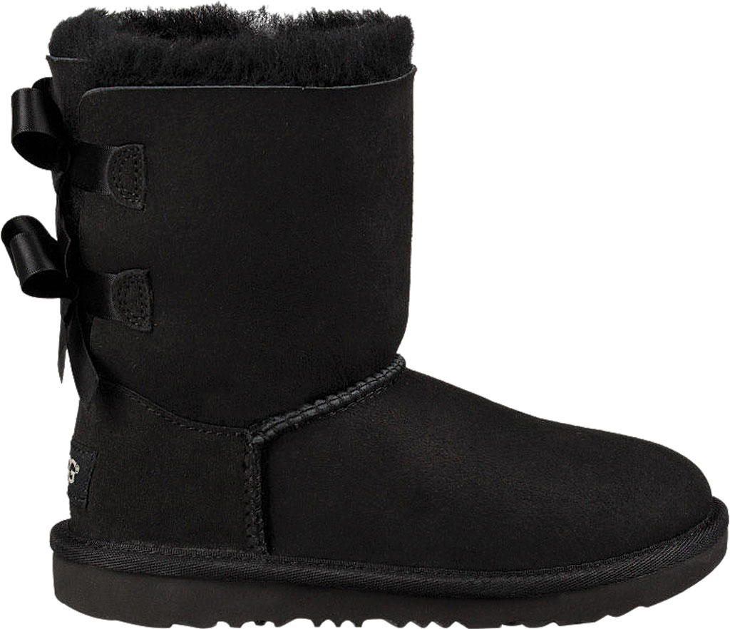 Children's UGG Bailey Bow II Kids Boot, Black Twinface, large, image 2