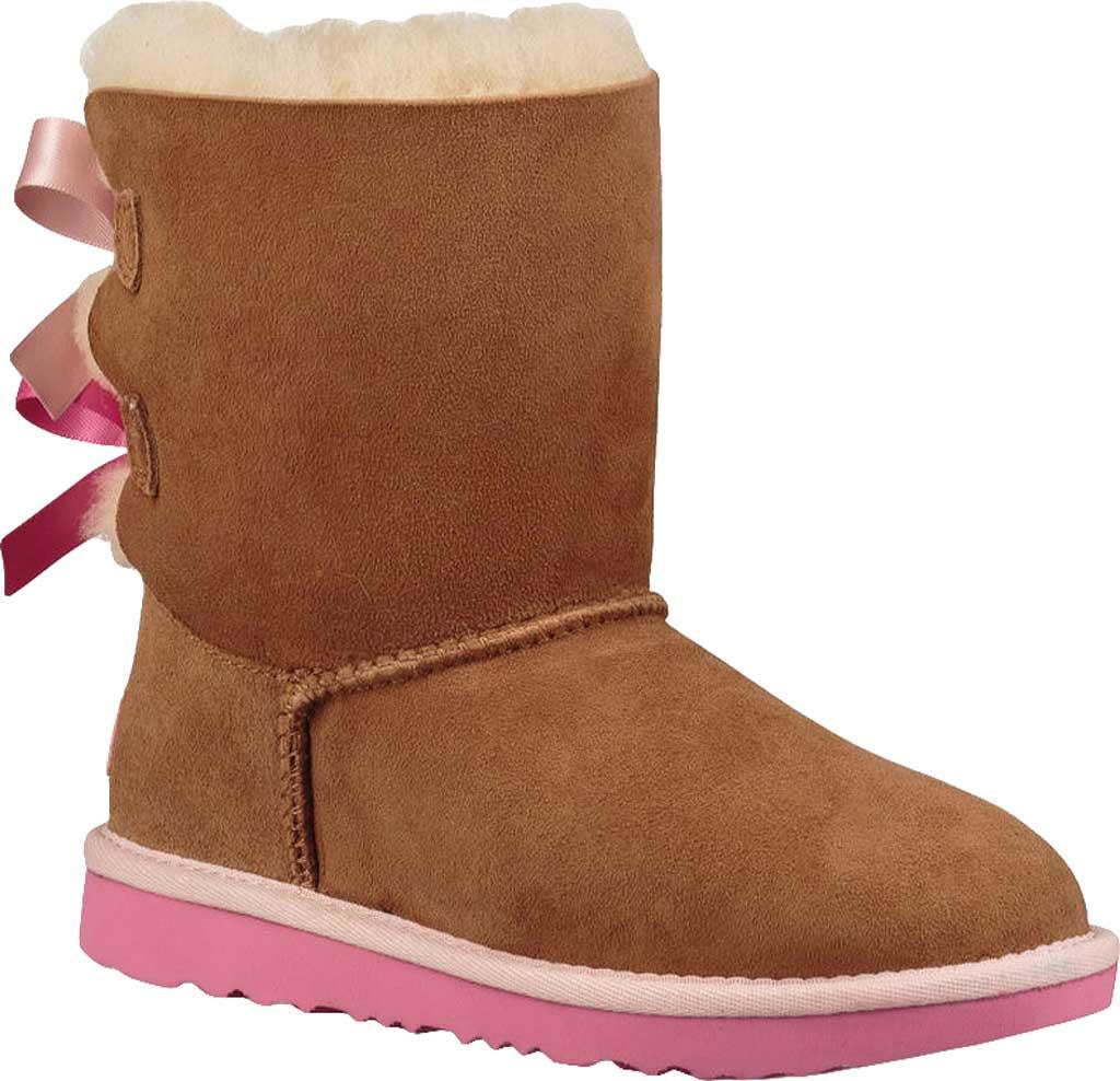Children's UGG Bailey Bow II Kids Boot, Chestnut/Pink Azalea Twinface, large, image 1